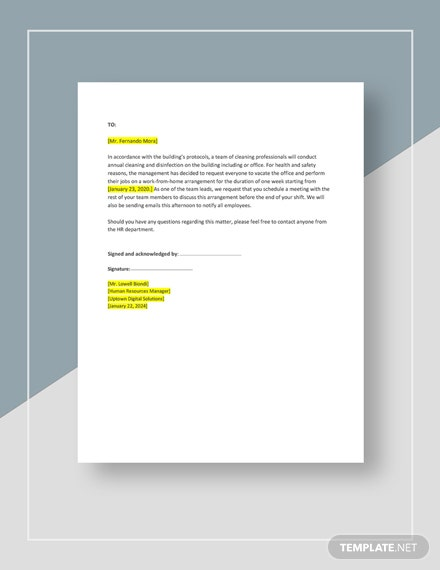 Work From Home Request Notice Template