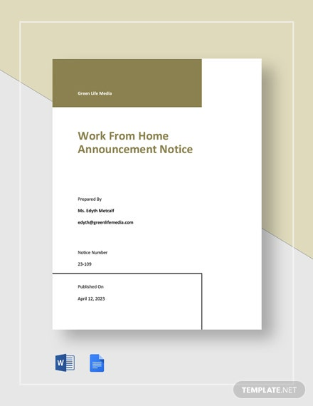 Work From Home Announcement Notice Template