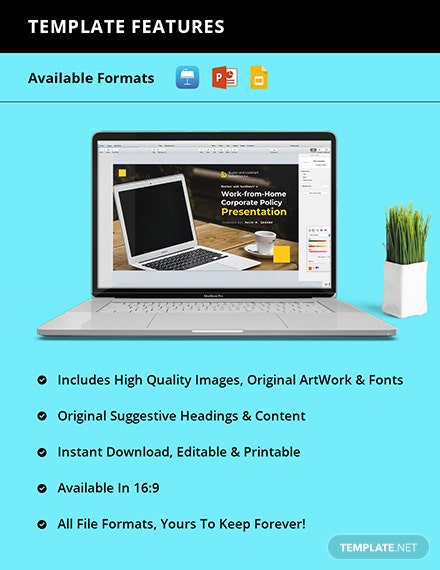 Work From Home Corporate Policies Presentation Template Instruction
