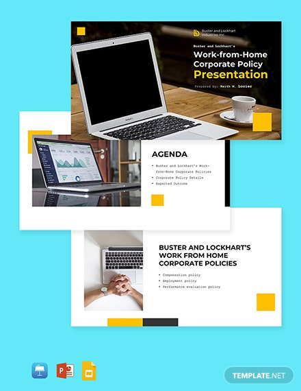 Work From Home Corporate Policies Presentation Template