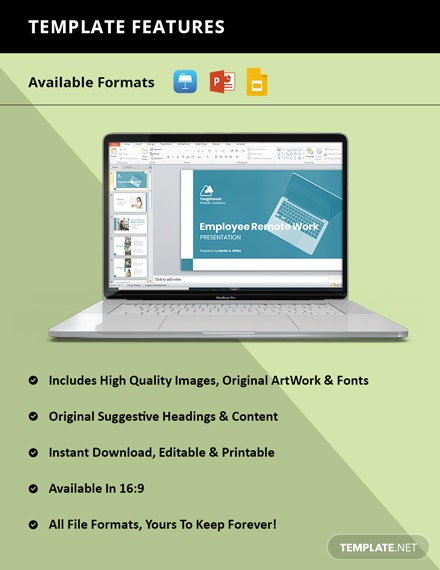 Employee Remote Work Presentation Template instruction