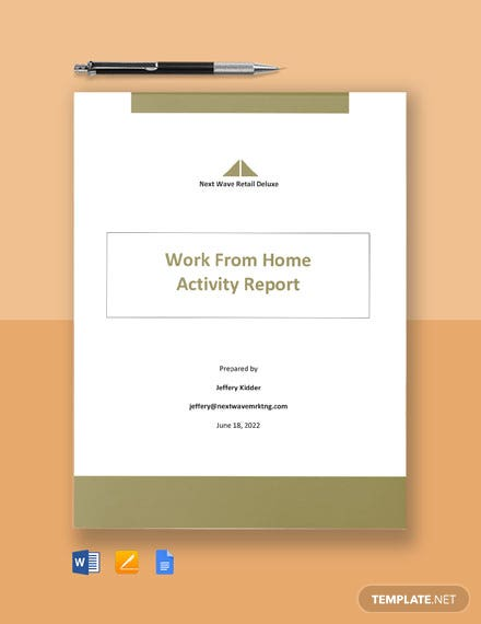 Work From Home Activity Report Template