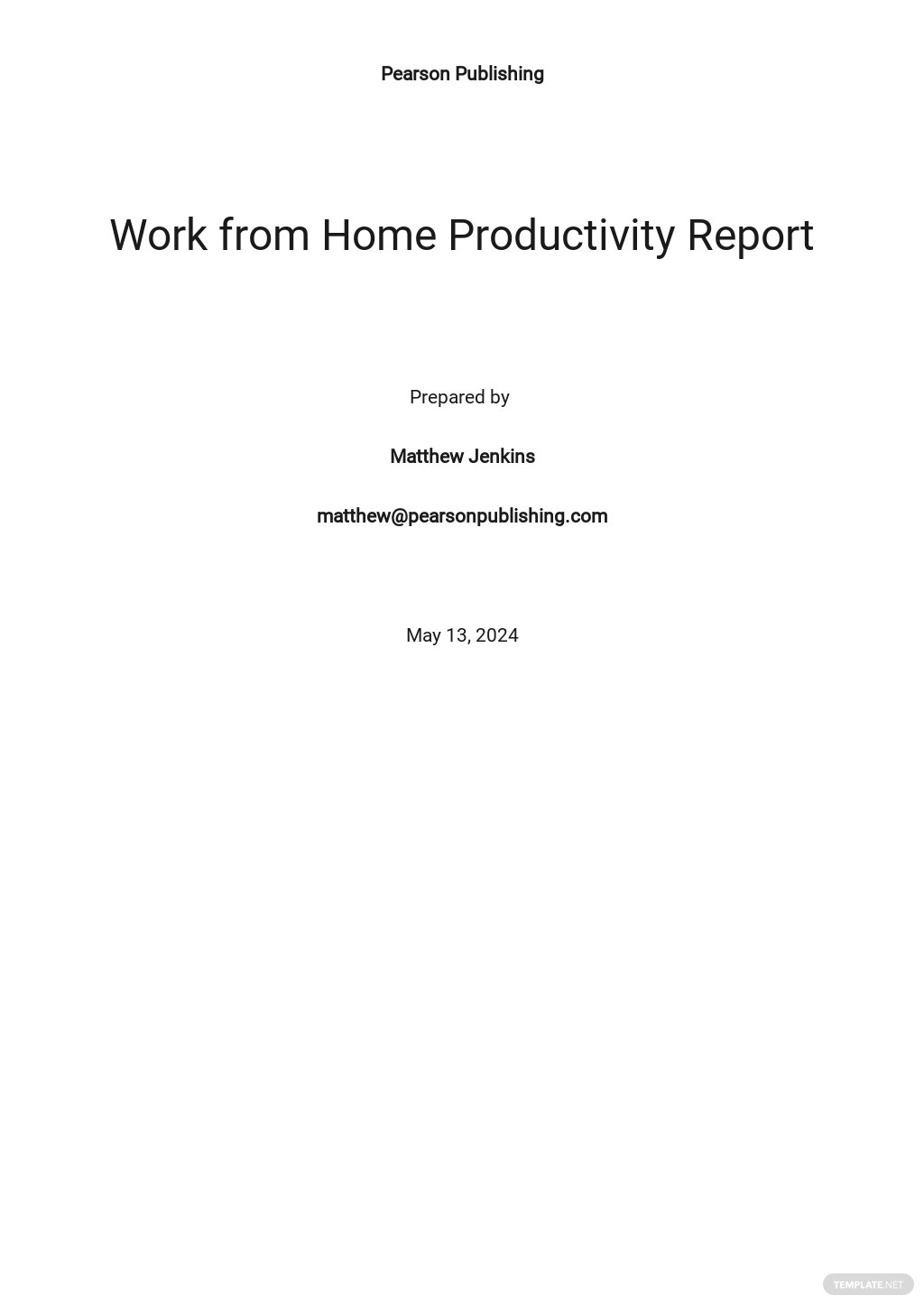 Work From Home Productivity Report Template.jpe