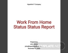 Work From Home Status Report Template