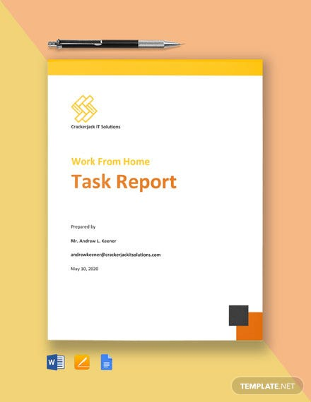 Work From Home Task Report Template