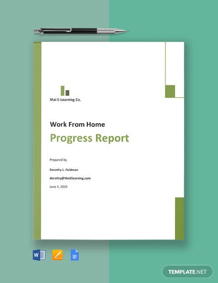 Work From Home Progress Report Template