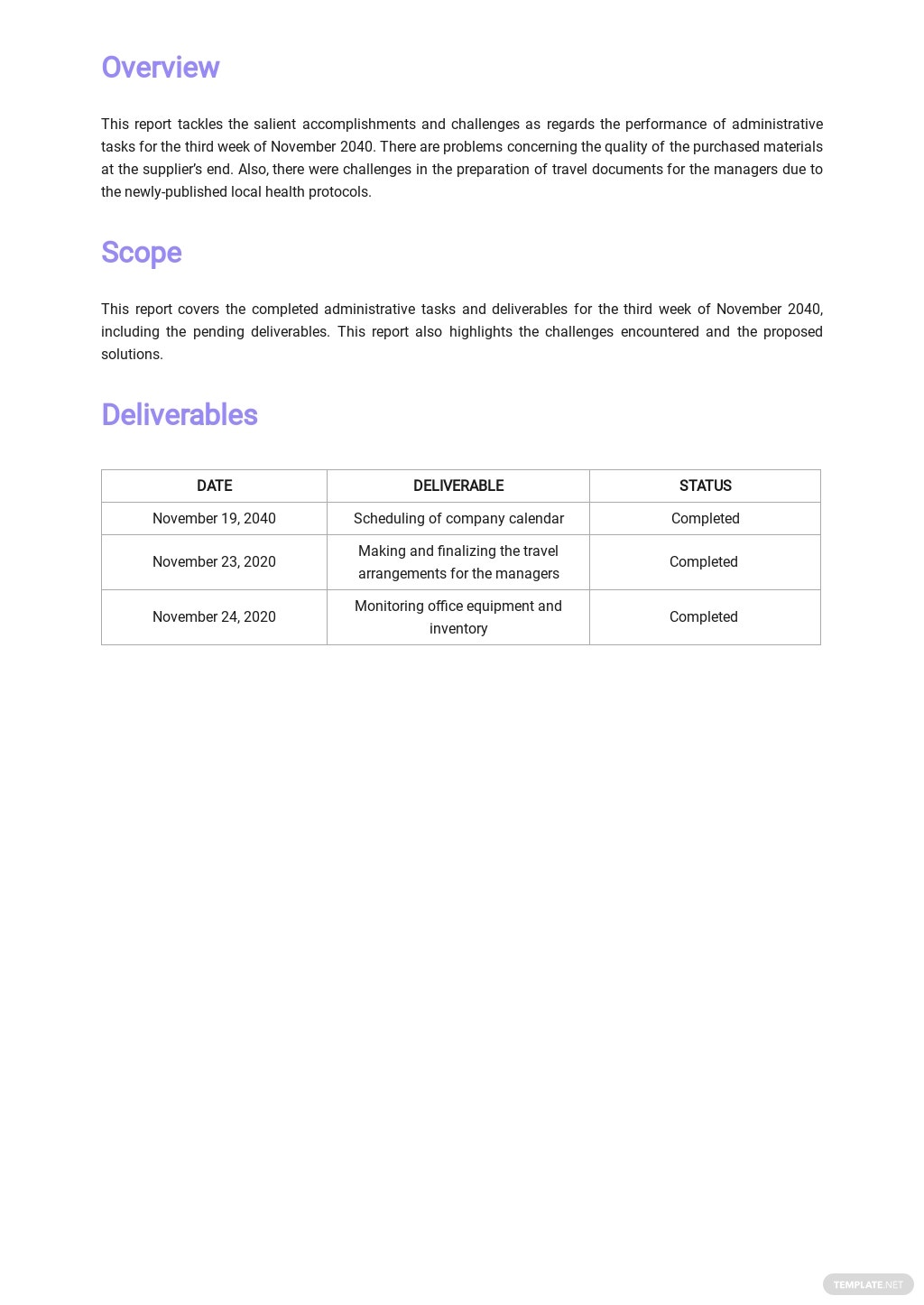 Free Simple Work Report Template 1.jpe