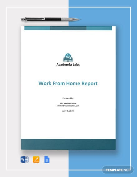 Free Sample Work From Home Report Template