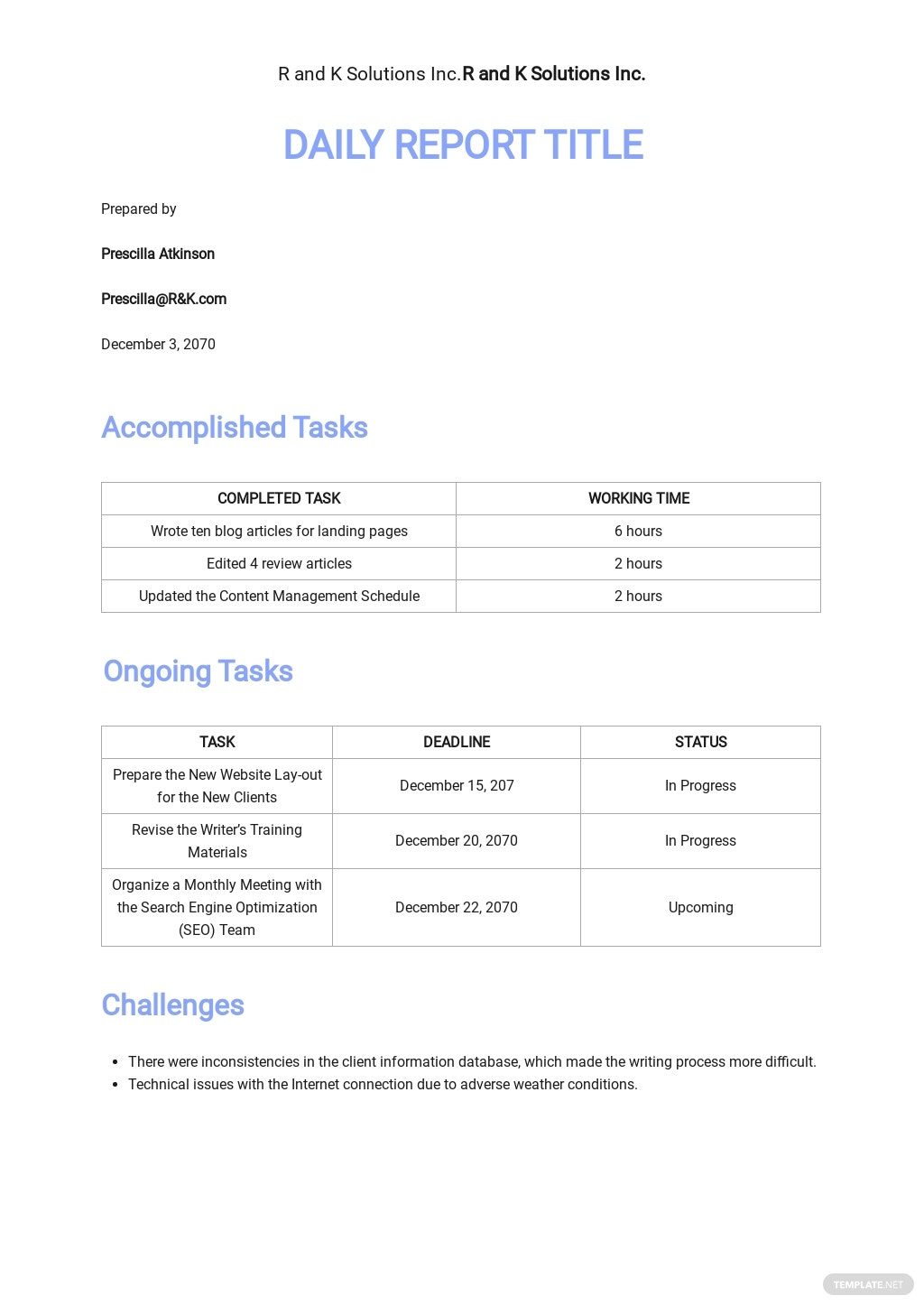 Free Work From Home Daily Report Template.jpe