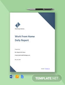 Free Work From Home Daily Report Template