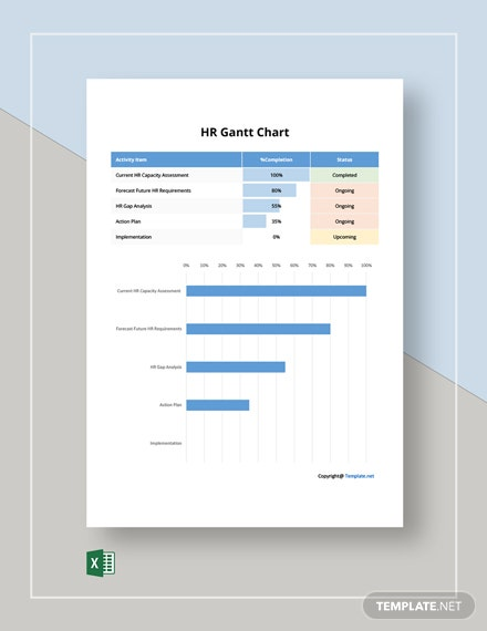 Free Basic HR Gantt Chart Template