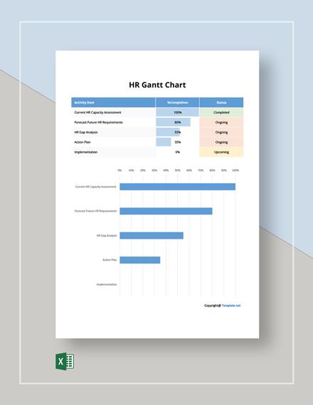 Free Basic HR Gantt Chart Template