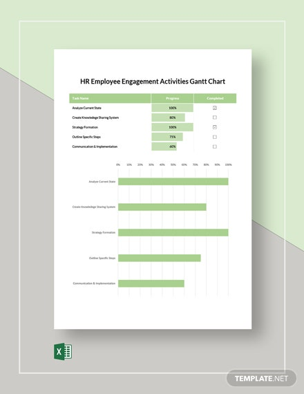 HR Employee Engagement Activities Gantt Chart Template