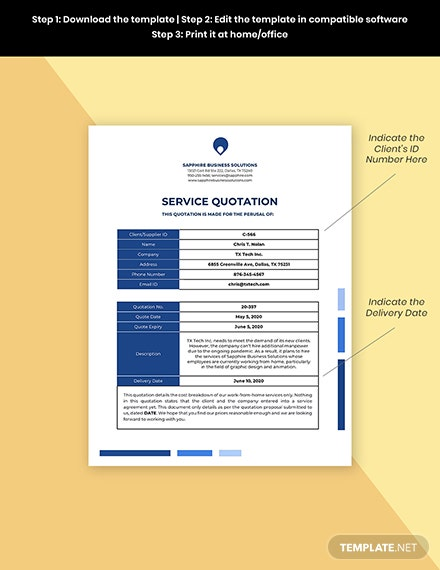 Work From Home Service Quotation Template Sample