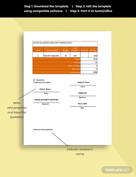Remote Work Quotation Template Printable