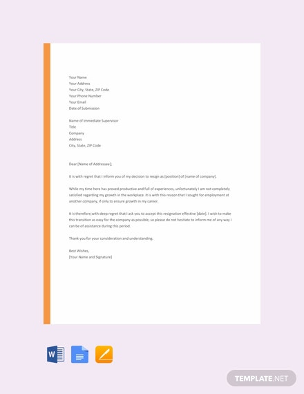 Free Resignation Letter Template For Career Growth Pdf