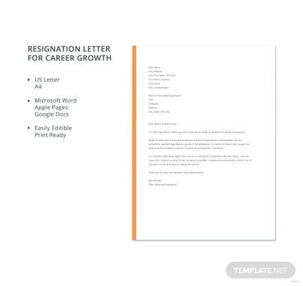 Free Resignation Letter Template for Career Growth