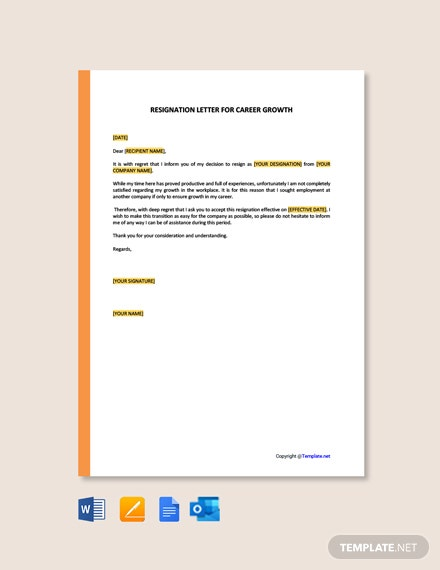 Resignation Letter Template for Career Growth
