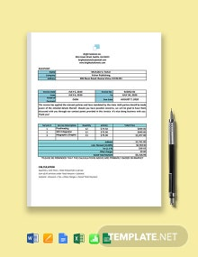 Work From Home Services Invoice Template