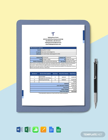 Freelance Work From Home Invoice Template