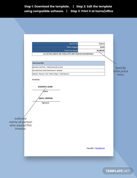 Free Simple Work From Home Invoice Template sample