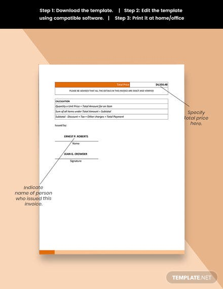 Free Sample Work From Home Invoice Template download