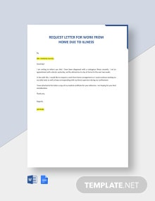 Request Letter For Work From Home Due To Illness Template