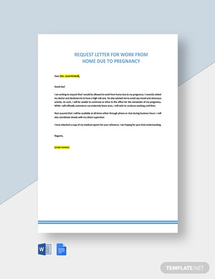 Request Letter For Work From Home Due To Pregnancy Template Free Pdf Word Doc Google Docs