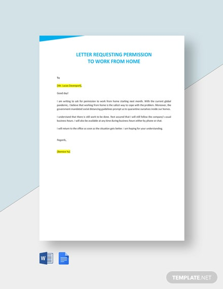 Letter Requesting Permission To Work From Home Template