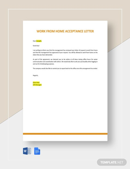 Work From Home Acceptance Letter