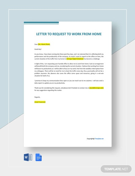 Free Letter to Request to Work from Home Template