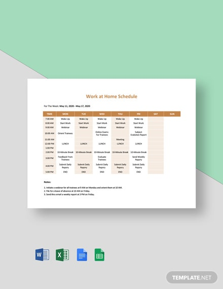 Work at Home Schedule Template