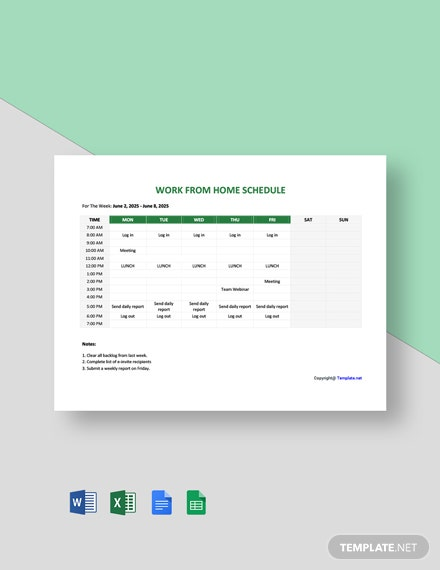 Free Sample Work From Home Schedule Template