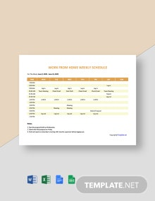 Work From Home Weekly Schedule Template
