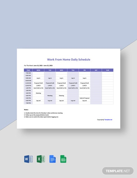 Work From Home Daily Schedule