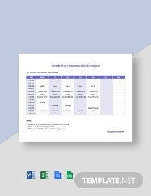 Work From Home Daily Schedule Template