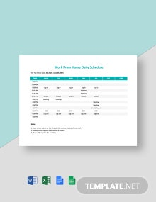 Work From Home Schedule Template