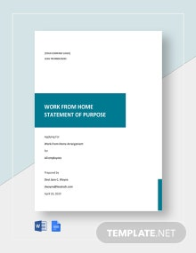 Work From Home Statement of Purpose Template