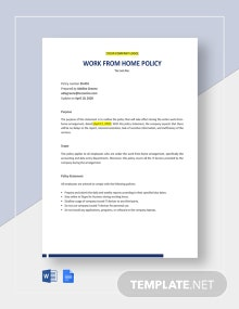Work From Home Policy Statement Template