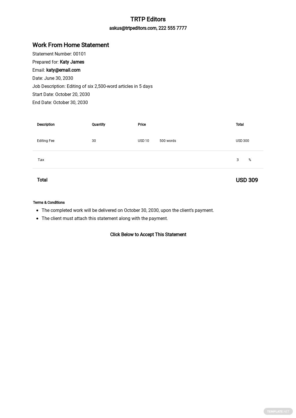 Free Blank Work From Home Statement Template.jpe