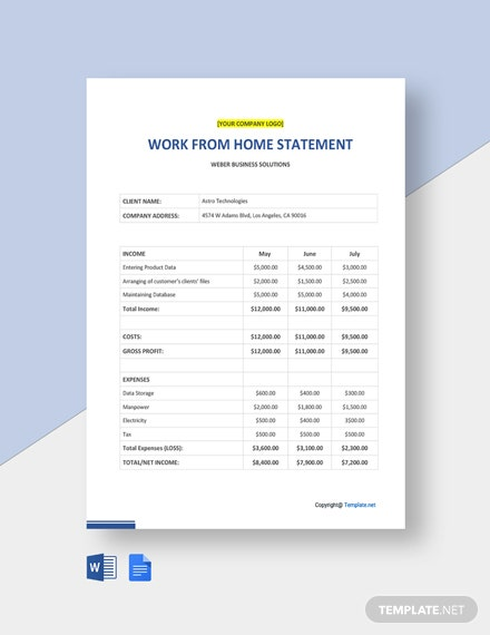 Free Sample Work From Home Statement Template