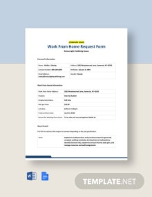 Work From Home Request Form Template