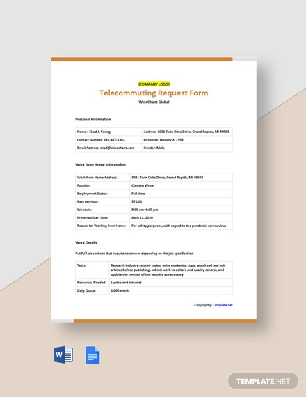 Free Sample Telecommuting Request Form Template