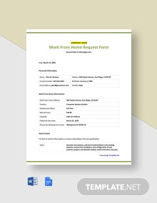 Free Sample Work From Home Request Form Template