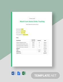 Work From Home Order Tracking Template