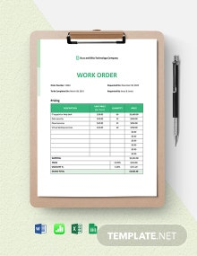 IT Work From Home Order Template