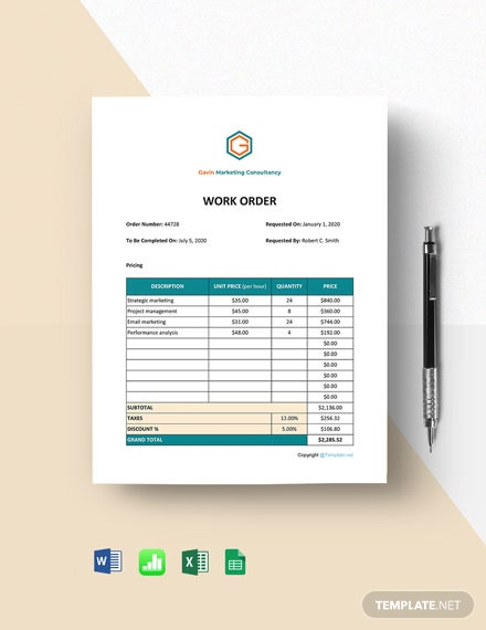 Free Simple Work Form Home Order Template