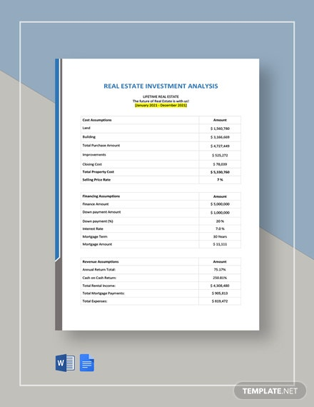 Real Estate Investment Analysis Spreadsheet Template