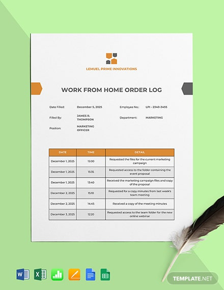Work From Home Order Log Template