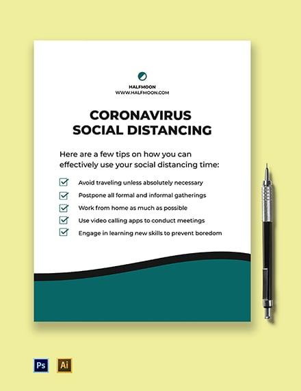 Coronavirus Social Distancing Flyer Template